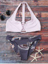 Printed Graphic Wire Free Bathing Suit - LIGHT PURPLE M