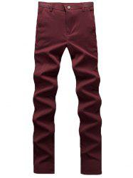 Zipper Fly Plain Chino Pants