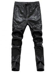 Star Appliques Narrow Feet PU Leather Pants