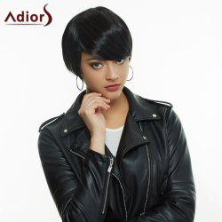 Noble Short Haircut Black Straight Side Bang Synthetic Wig For Women -