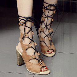Heeled Slingback Gladiator Sandals That Lace Up Calf