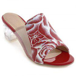 Transparent Plastic Flower Pattern Slippers - RED