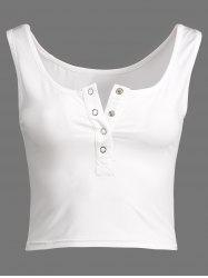 Henley Fitted Cropped Tank Top