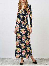 Surplice Floral Maxi Evening Dress