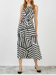 Sleeveless Long Striped Casual Dress