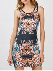 Ethnic Print Mini Racerback Tank Bodycon Dress