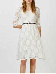 Beaded Lace Belted A Line Dress
