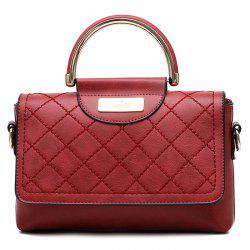 Rhombus Flap Faux Leather Quilted Bag -