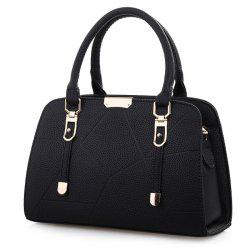 Metal and Strap Detial Faux Leather Handbag - BLACK