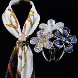 Rhinestone Glaze Flower Scarf Buckle Brooch - BLACK