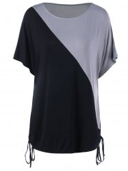 Plus Size Tie Side Batwing Sleeve T-Shirt