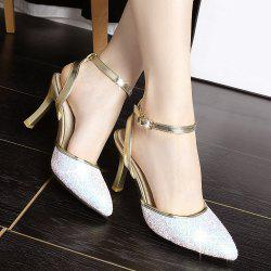 Ankle Strap Colour Block Pumps - WHITE