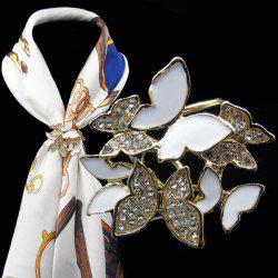 Rhinestone Butterfly Scarf Buckle Brooch - WHITE
