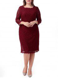 Midi Plus Size Lace Cocktail Dress