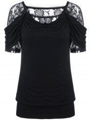 Lace Trim Ruched T-Shirt - BLACK