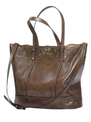 Cut Out Faux Leather Tote Bag