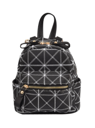 Geometric Faux Leather Mini Backpack