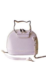 Metal Handle Crossbody Bag with Chains - PINK