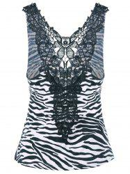 Zebra Print Lace Trim Tank Top
