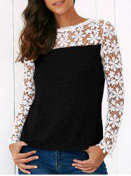 Lace Trim Floral Blouse - BLACK