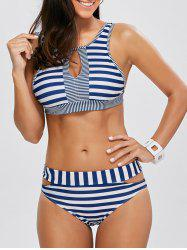 High Neck Striped Cut Out Bikini Set