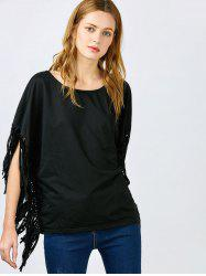 Stylish Skew Neck Short Sleeve Fringed Women's Black Blouse -