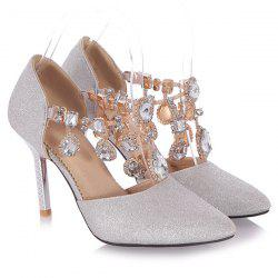 Glitter Pointed Toe Rhinestones Pumps - SILVER