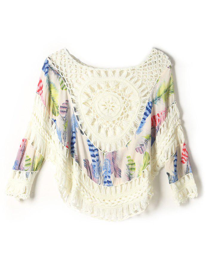 Affordable Feather Print Crochet Cover-Up