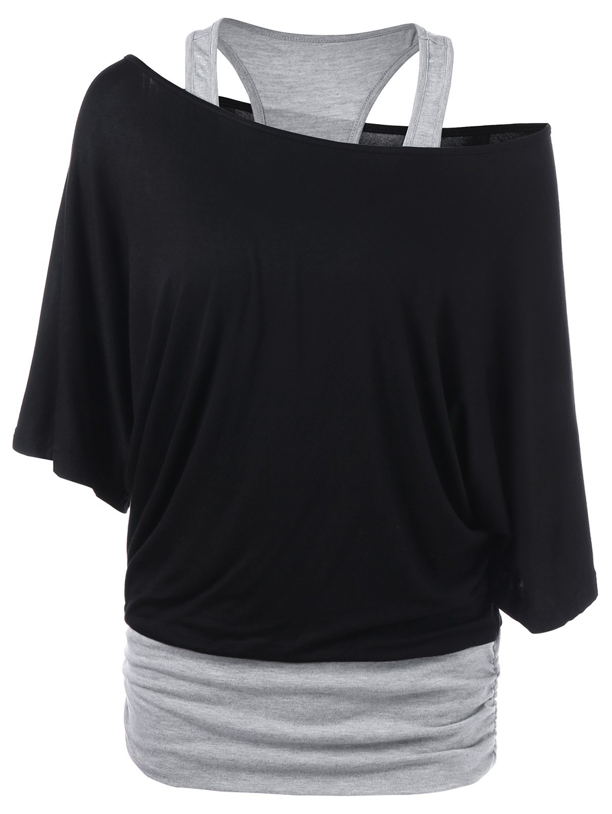 Skew Neck Racerback Two Tone T-ShirtWOMEN<br><br>Size: XL; Color: BLACK AND GREY; Material: Rayon,Spandex; Shirt Length: Regular; Sleeve Length: Half; Collar: Skew Collar; Style: Casual; Season: Summer; Pattern Type: Solid; Weight: 0.3500kg; Package Contents: 1 x T-Shirt;