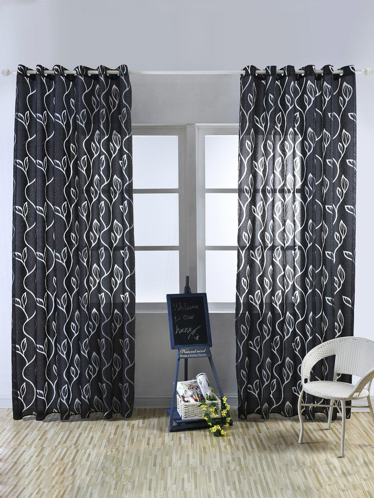 Shops Window Shading Leaf Embroider Tulle Curtain