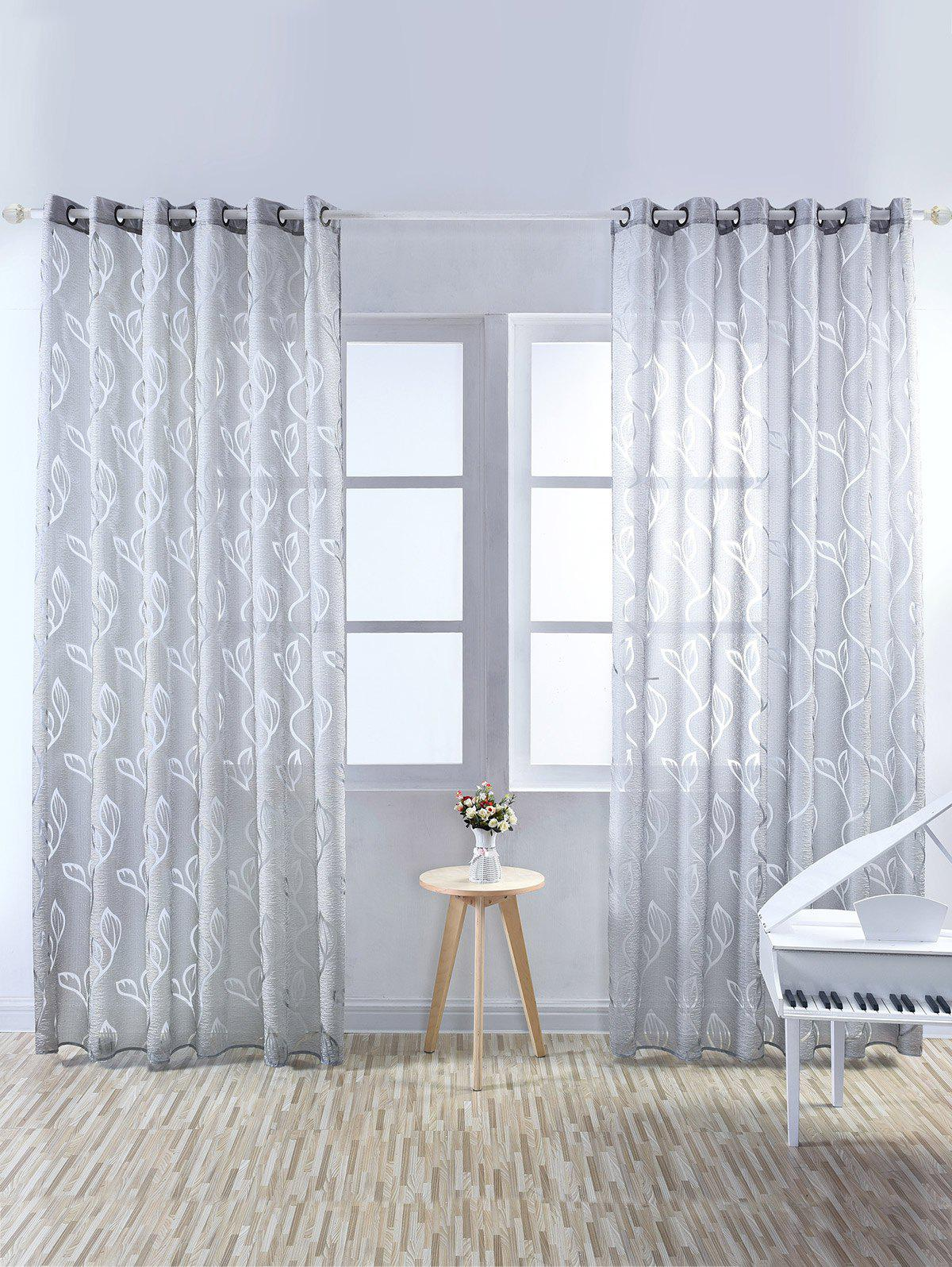 Window Shading Leaf Embroider Tulle CurtainHOME<br><br>Size: 100*250CM; Color: GRAY; Applicable Window Type: French Window; Function: Translucidus (Shading Rate 1%-40%); Installation Type: Ceiling Installation; Location: Window; Material: Cloth Curtain + Voile Curtain; Opening and Closing Method: Left and Right Biparting Open; Processing: Punching; Processing Accessories Cost: Excluded; Style: European and American Style; Type: Curtain; Use: Cafe,Home,Hotel,Office; Weight: 0.3000kg; Package Contents: 1 x Window Curtain;