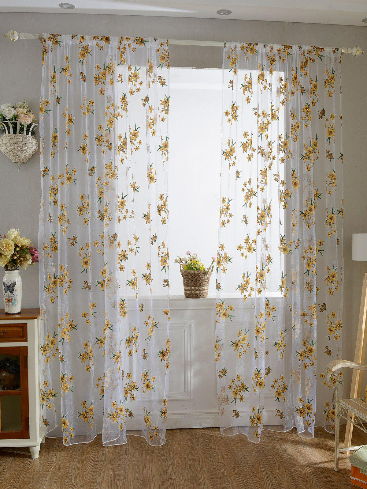 Yellow 100*200cm Flower Embroider Sheer Fabric Voile ...