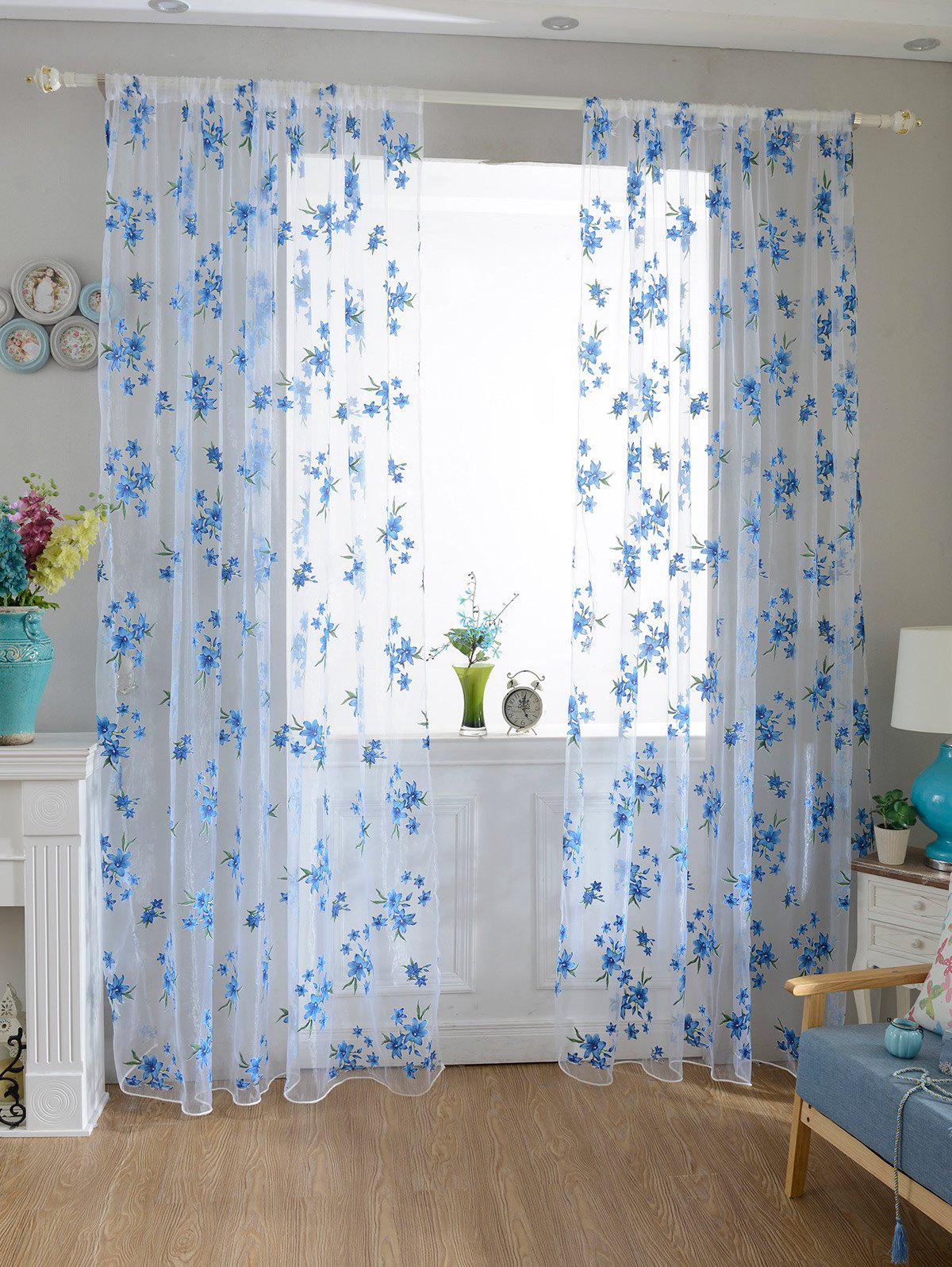 Flower Embroider Sheer Fabric Voile CurtainHOME<br><br>Size: 100*200CM; Color: SKY BLUE; Applicable Window Type: French Window; Function: Translucidus (Shading Rate 1%-40%); Installation Type: Ceiling Installation; Location: Window; Material: Voile Curtain; Opening and Closing Method: Left and Right Biparting Open; Pattern Type: Floral; Processing Accessories Cost: Excluded; Style: European and American Style; Type: Curtain; Use: Cafe,Home,Hotel,Office; Weight: 0.1800kg; Package Contents: 1 x Voile Curtain;