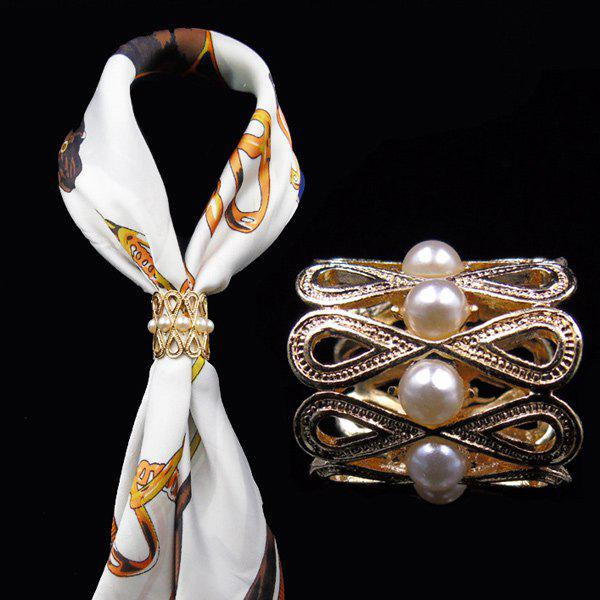 Vintage Faux Pearl Infinite Brooch Scarf BuckleJEWELRY<br><br>Color: GOLDEN; Brooch Type: Brooch; Gender: For Women; Style: Noble and Elegant; Shape/Pattern: Geometric; Weight: 0.0700kg; Package Contents: 1 x Brooch;