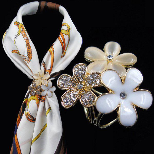 Rhinestone Glaze Flower Scarf Buckle BroochJEWELRY<br><br>Color: WHITE; Brooch Type: Brooch; Gender: For Women; Style: Trendy; Shape/Pattern: Floral; Weight: 0.0700kg; Package Contents: 1 x Brooch;
