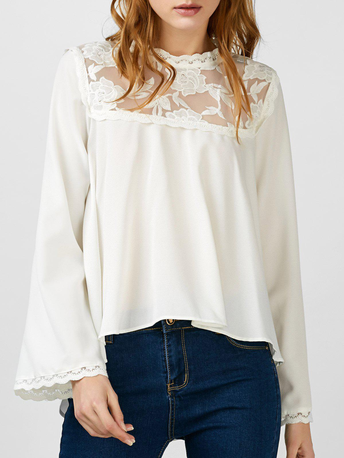 Latest Lace Insert Asymmetrical Embroidered Blouse