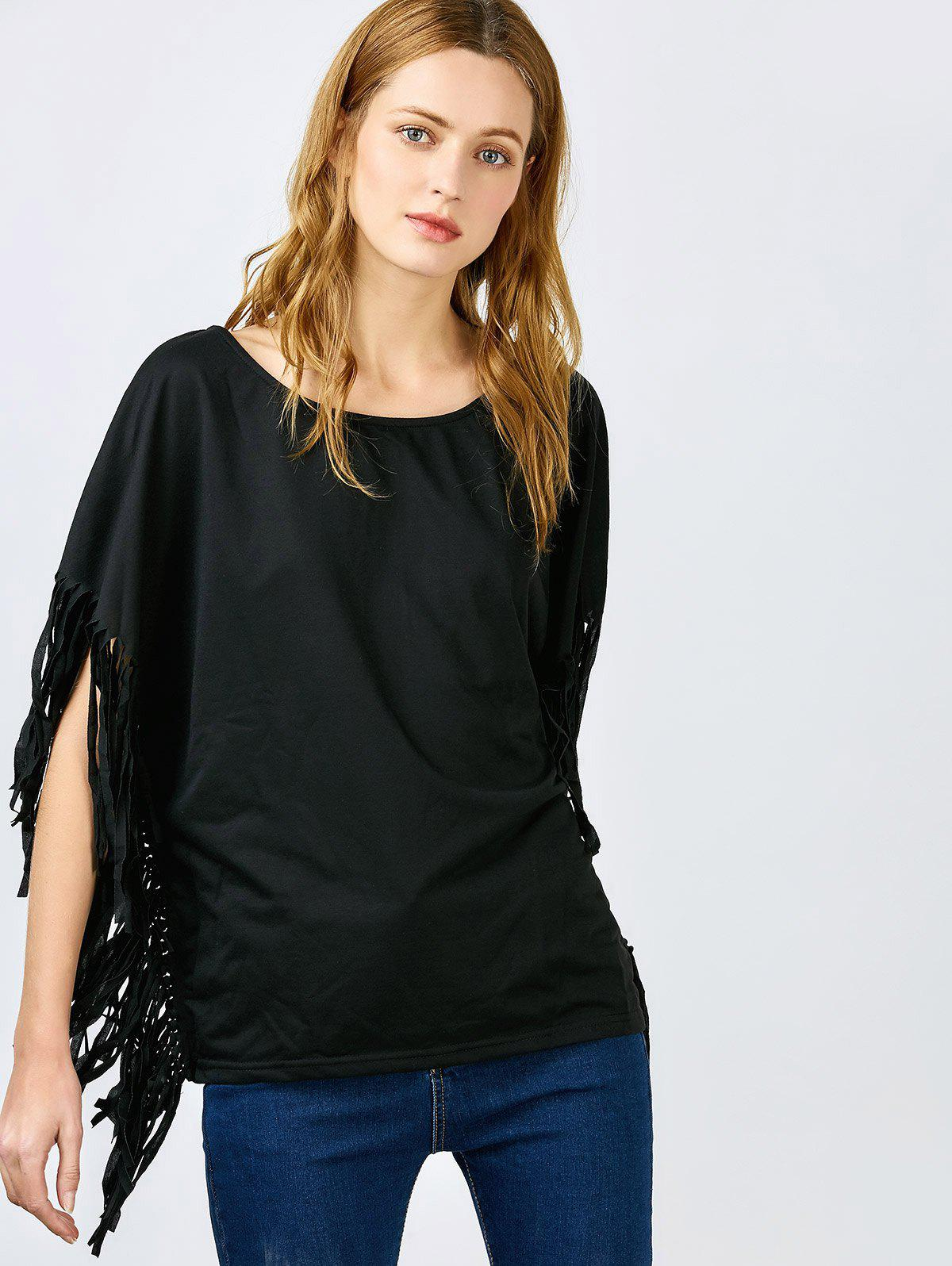 Affordable Stylish Skew Neck Short Sleeve Fringed Women's Black Blouse