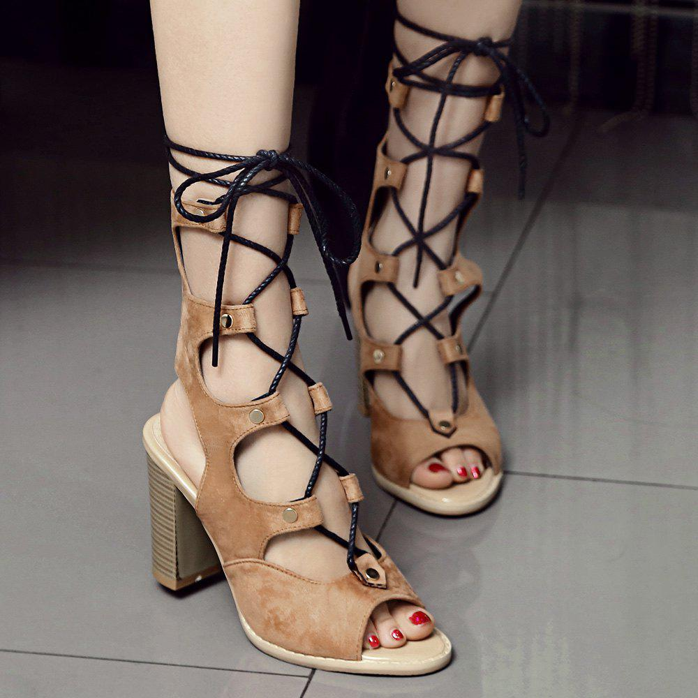 d0d36f8fb960 Fashion Heeled Slingback Gladiator Sandals That Lace Up Calf