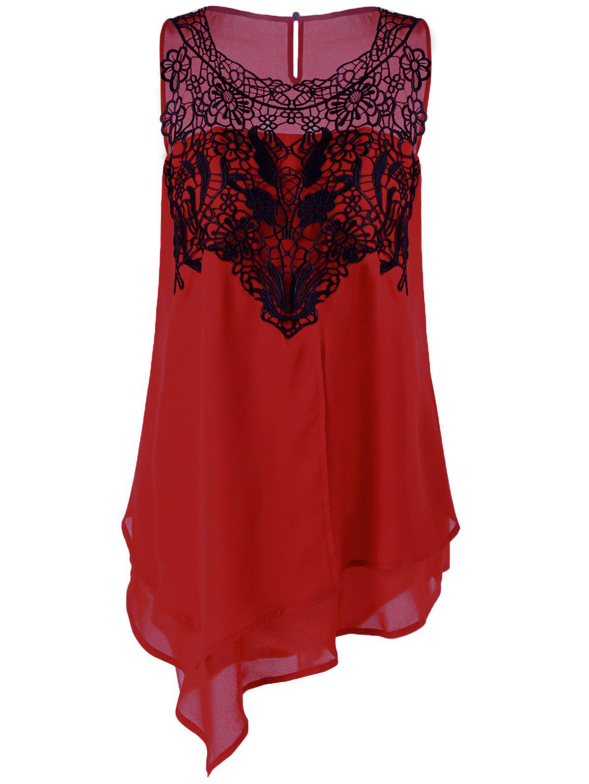 Plus Size Lace Trim Layered Asymmetrical BlouseWOMEN<br><br>Size: 5XL; Color: RED WITH BLACK; Material: Polyester; Shirt Length: Long; Sleeve Length: Sleeveless; Collar: Round Neck; Style: Fashion; Season: Summer; Pattern Type: Floral; Weight: 0.3200kg; Package Contents: 1 x Blouse;