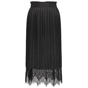 Reversible Lace Panel Pleated Midi Skirt