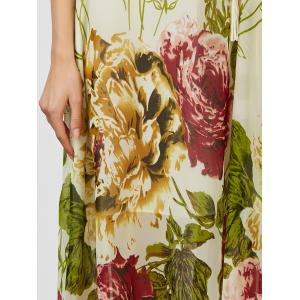 Floral Chiffon Belted Summer Long Dress - APRICOT L