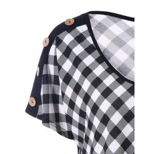Plus Size Plaid T-Shirt with Button - CHECKED XL