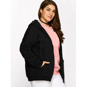Plus Size Fleece Zip Up Embroidery Hoodie - BLACK 4XL