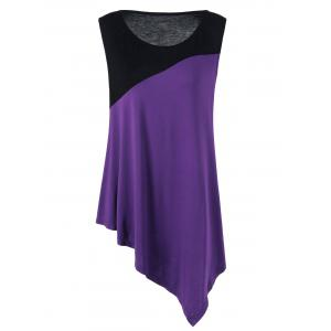 Plus Size Two Tone Asymmetrical Flowy Tank Top - Black And Purple - 2xl