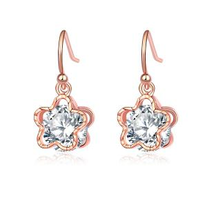 Flower Shape Faux Diamond Drop Earrings