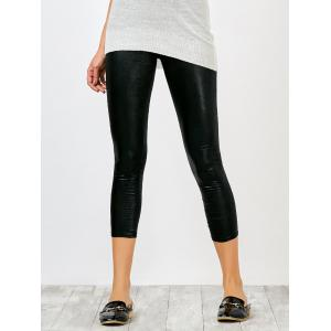 High Rise Faux Leather Shiny Capri Leggings - Black - One Size