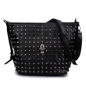 Rivets and Skull Detail Shoulder Bag - Black - 40