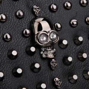 Rivets and Skull Detail Shoulder Bag - BLACK