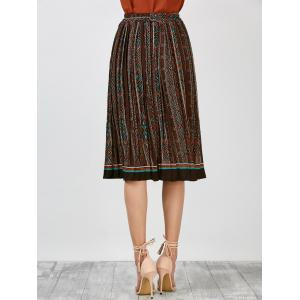 High Rise Geometric Print Pleated Skirt -