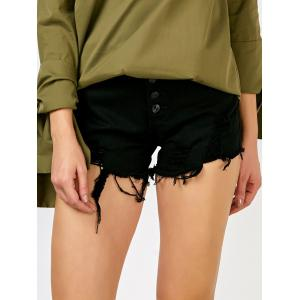 High Rise Button Up Cut off Jean Shorts - Black - S